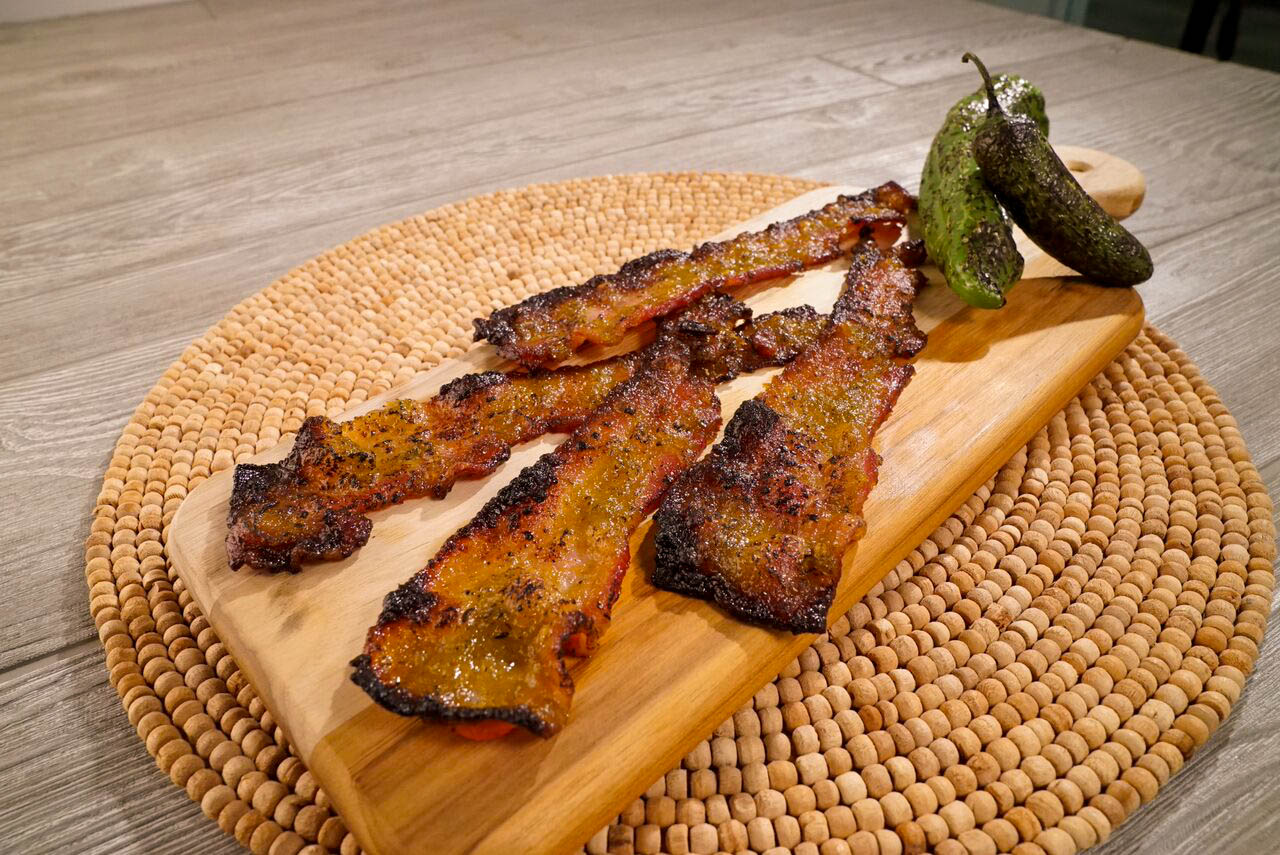 Green Chili Candied Bacon