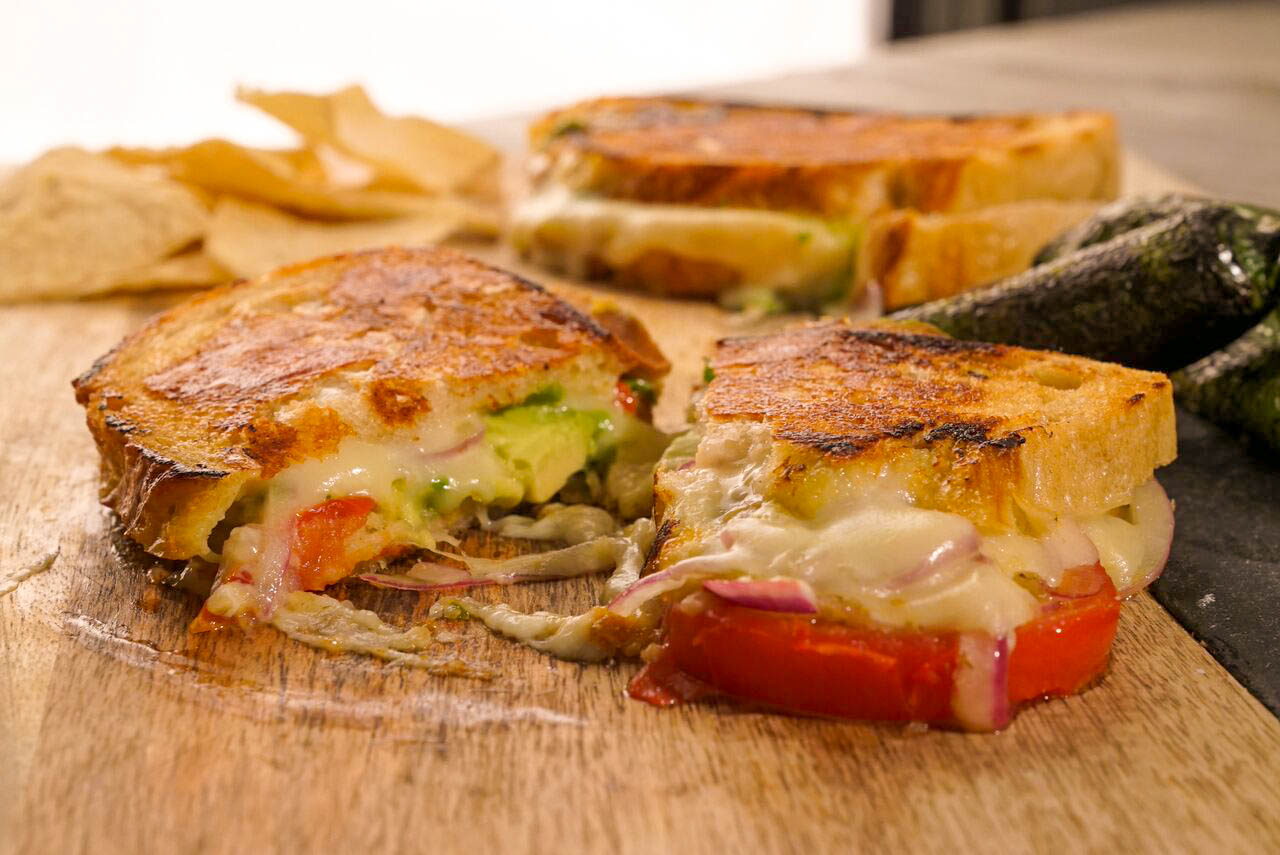 Green Chili Grilled Cheese With Avocado, Tomato and Lime Marinated Red Onion