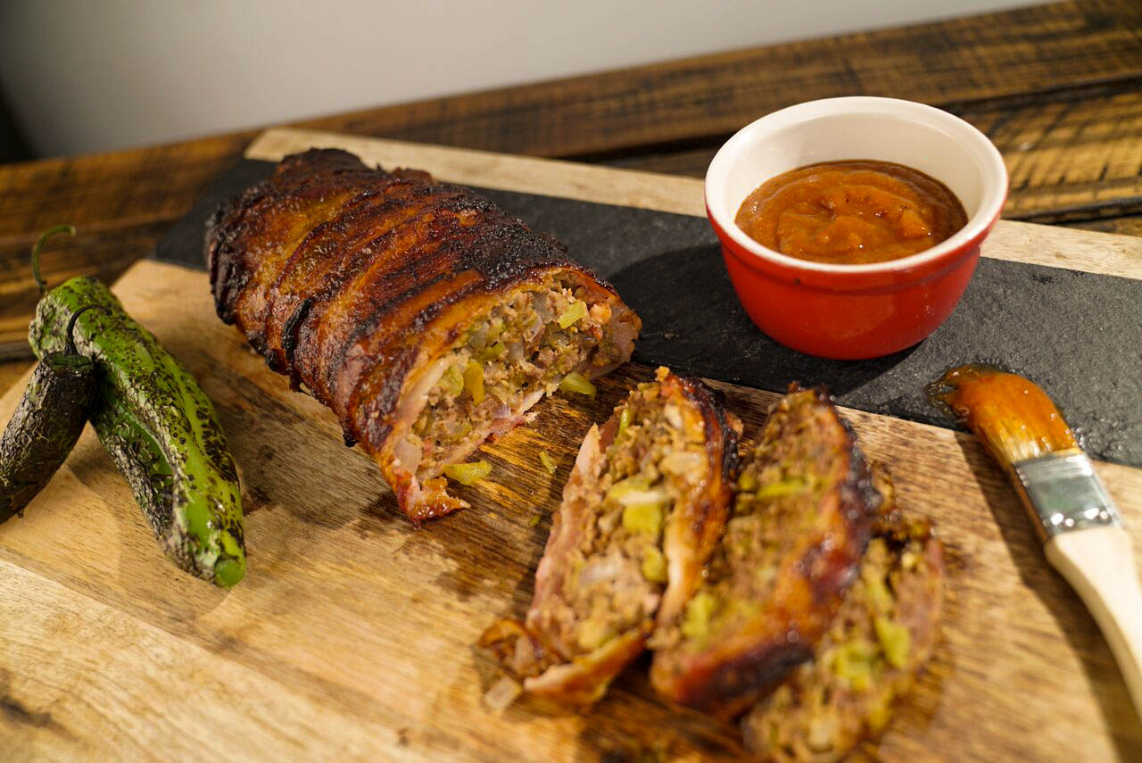 Bacon Wrapped Green Chile Meatloaf With a Honey Chili Glaze