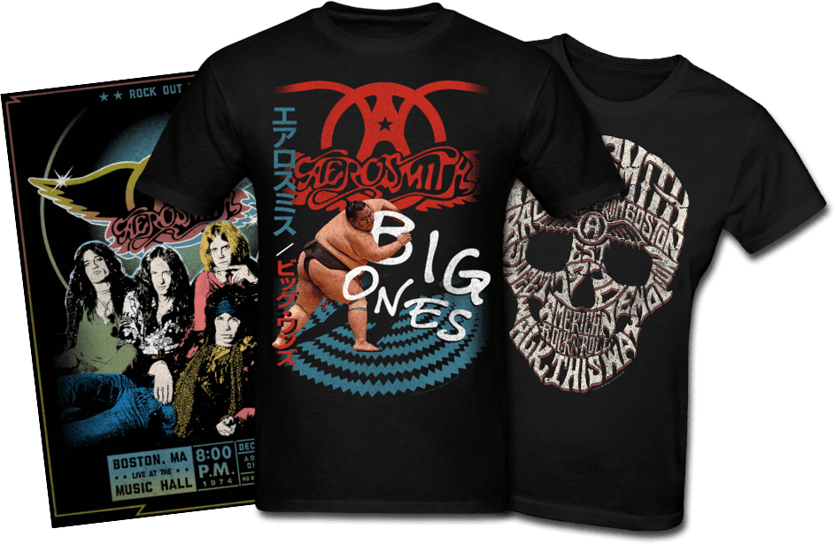 Aerosmith posters and tshirts