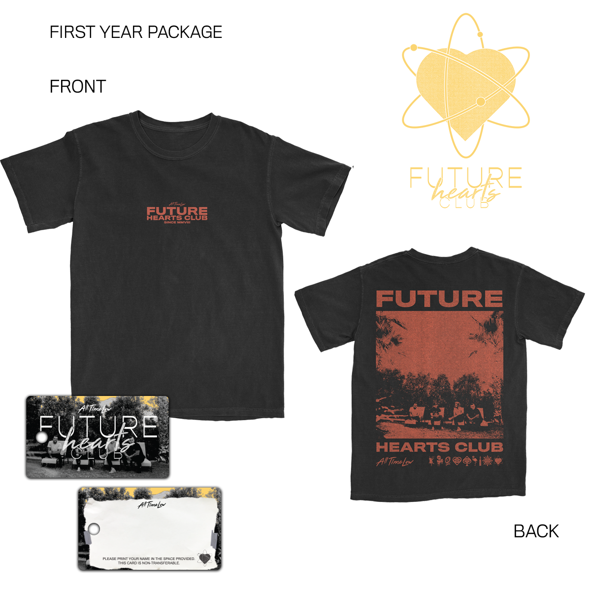 The All Time Low Hustlers Welcome Package includes the exclusive First Year All Time Low Future Hearts Club t-shirt, key card and poster.