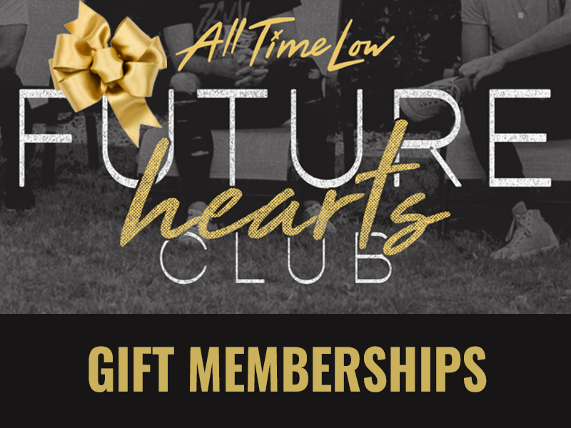 image of the gift membership card featuring the band logo and gold bow