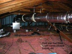 Hardpipe duct trunk to sub-remote plenum.