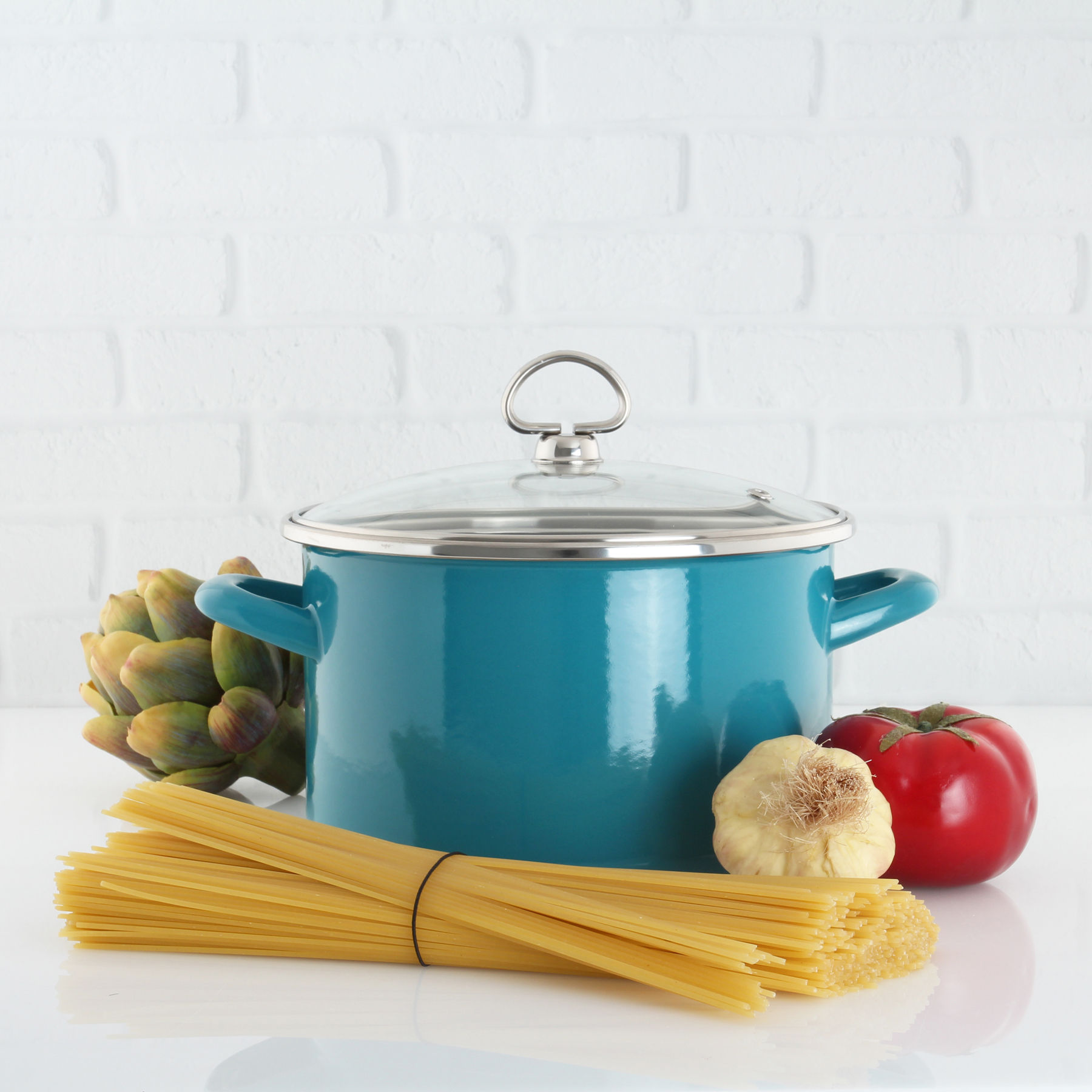 enamel on steel 4 quart stockpot healthiest cooking surface available inert color exterior will never fade lifetime warranty in action