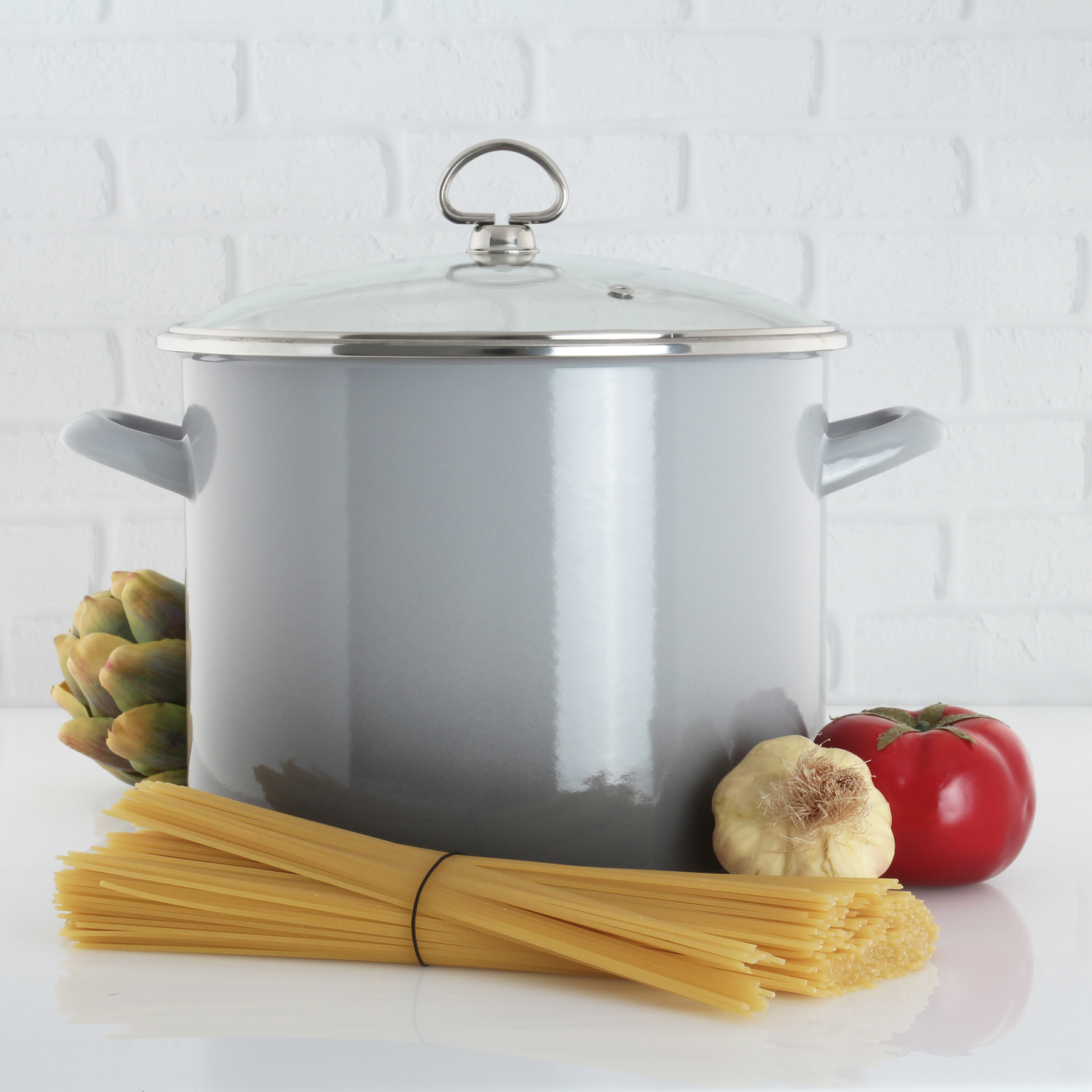 enamel on steel 8 quart stockpot healthiest cooking surface available inert color exterior will never fade lifetime warranty in action