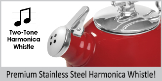 "enamel on steel classic teakettle exclusive two-tone Hohner harmonica whistle premium ""boiler"" interior enamel 1.8 quart capacity"