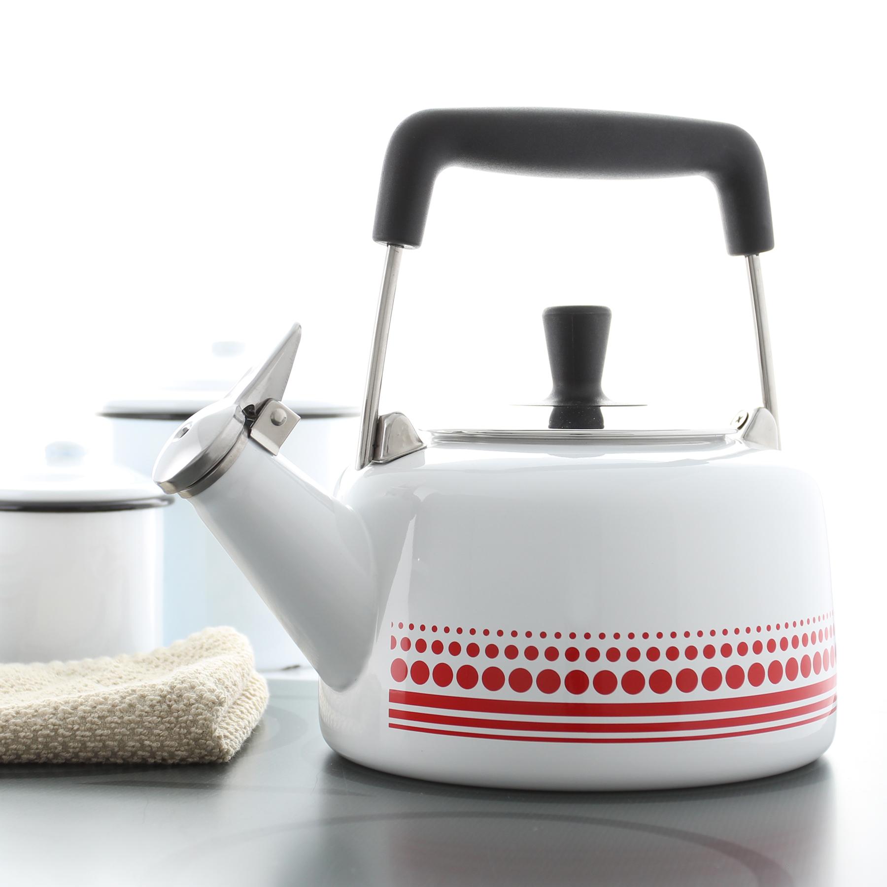 enamel on steel frieda teakettle premium white and red color