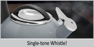 "single tone whistle enamel on steel heath grey teakettle premium ""boiler"" interior enamel 2 quart capacity ombre fade grey color"