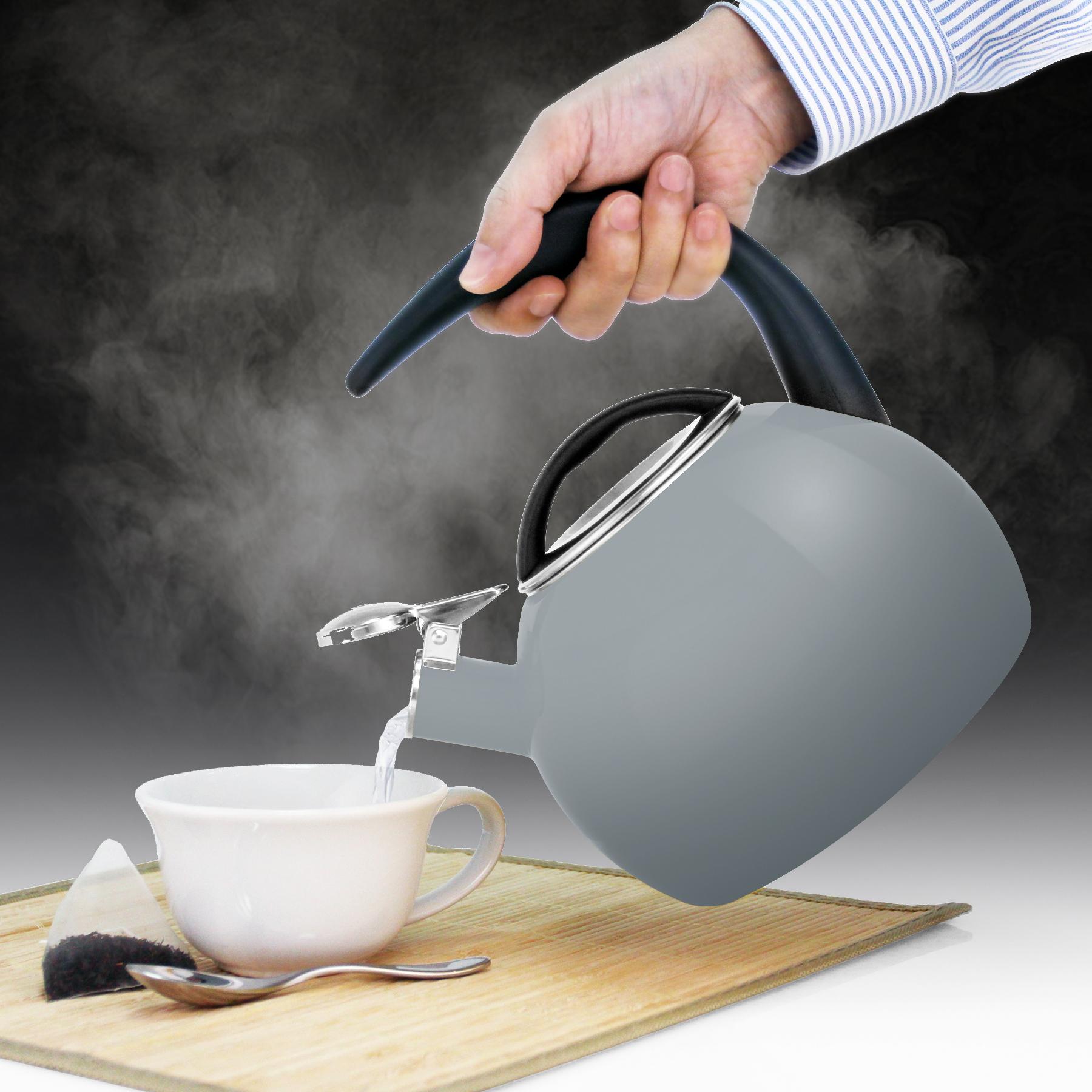 """enamel on steel heath grey teakettle premium """"boiler"""" interior enamel 2 quart capacity ombre fade grey color in action"""