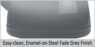 "easy clean enamel on steel fade grey finish enamel on steel lake grey teakettle premium ""boiler"" interior enamel 1.7 quart capacity ombre fade grey color"