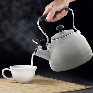 "enamel on steel lake grey teakettle premium ""boiler"" interior enamel 1.7 quart capacity ombre fade grey color"
