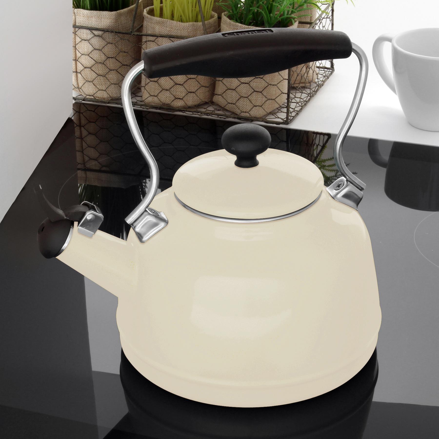 gloss almond tea kettle on stove