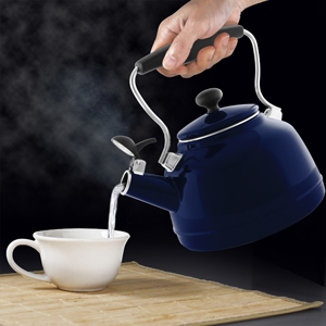 enamel on steel vintage teakettle 1.7 quart capacity single-tone whistle fresh with a classic inspiration