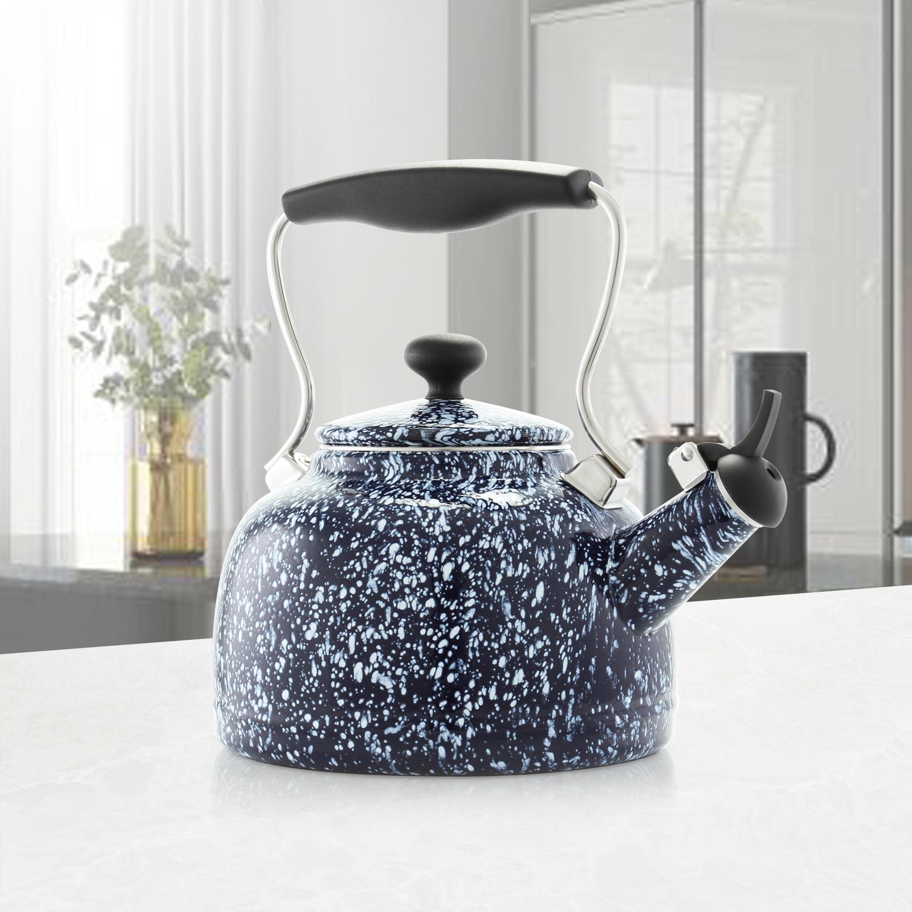 blue splatter tea kettle features