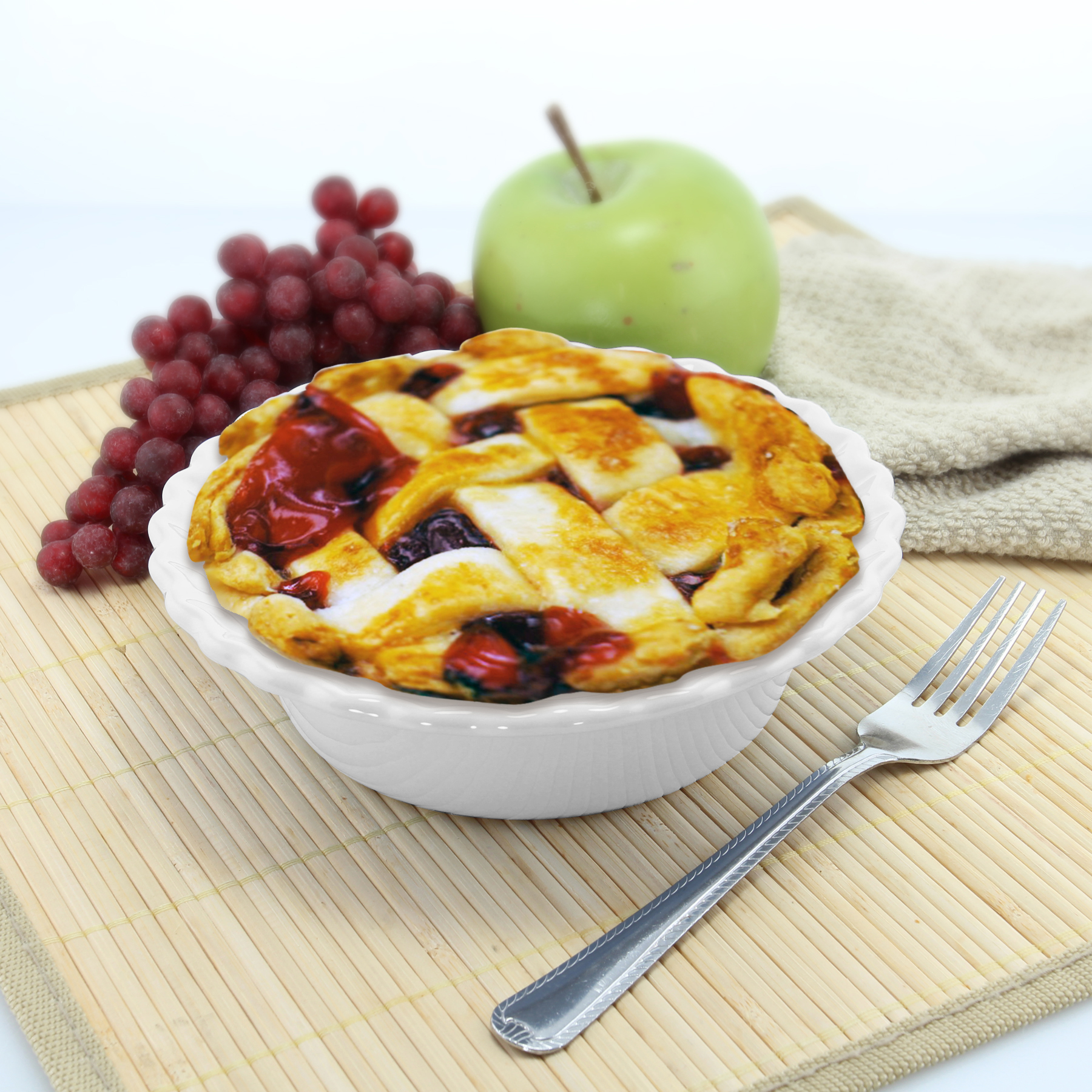 mini pie dish with pie cooked inside