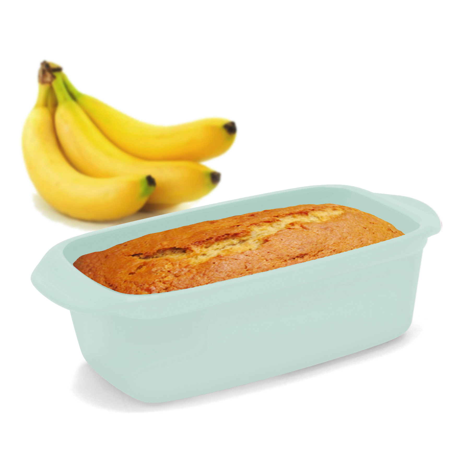 loaf pan in sage green with banana bread