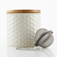ceramic tea caddy with bamboo lid and stainless steel infuser high-quality stoneware hand-sanded base for no-scratch surface FDA & Prop 65 approved