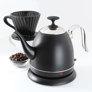 black ryder electric kettle with black ceramic lotus filter and coffee beans