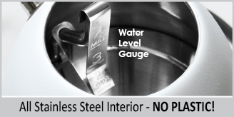 all stainless steel interior no plastic  internal water level gauge