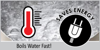 boils water fast saves energy