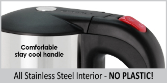 all stainless steel interior no plastic   comfortable stay cool handle