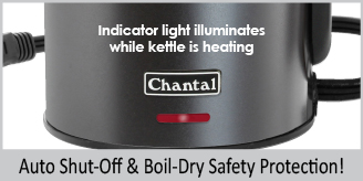 auto shut off and boil dry safety protection  indicator light iluminates while kettle is heating