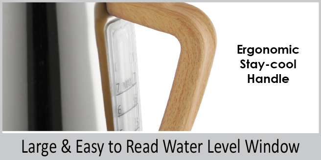 ergonomic stay cool handle  large and easy to read water level window