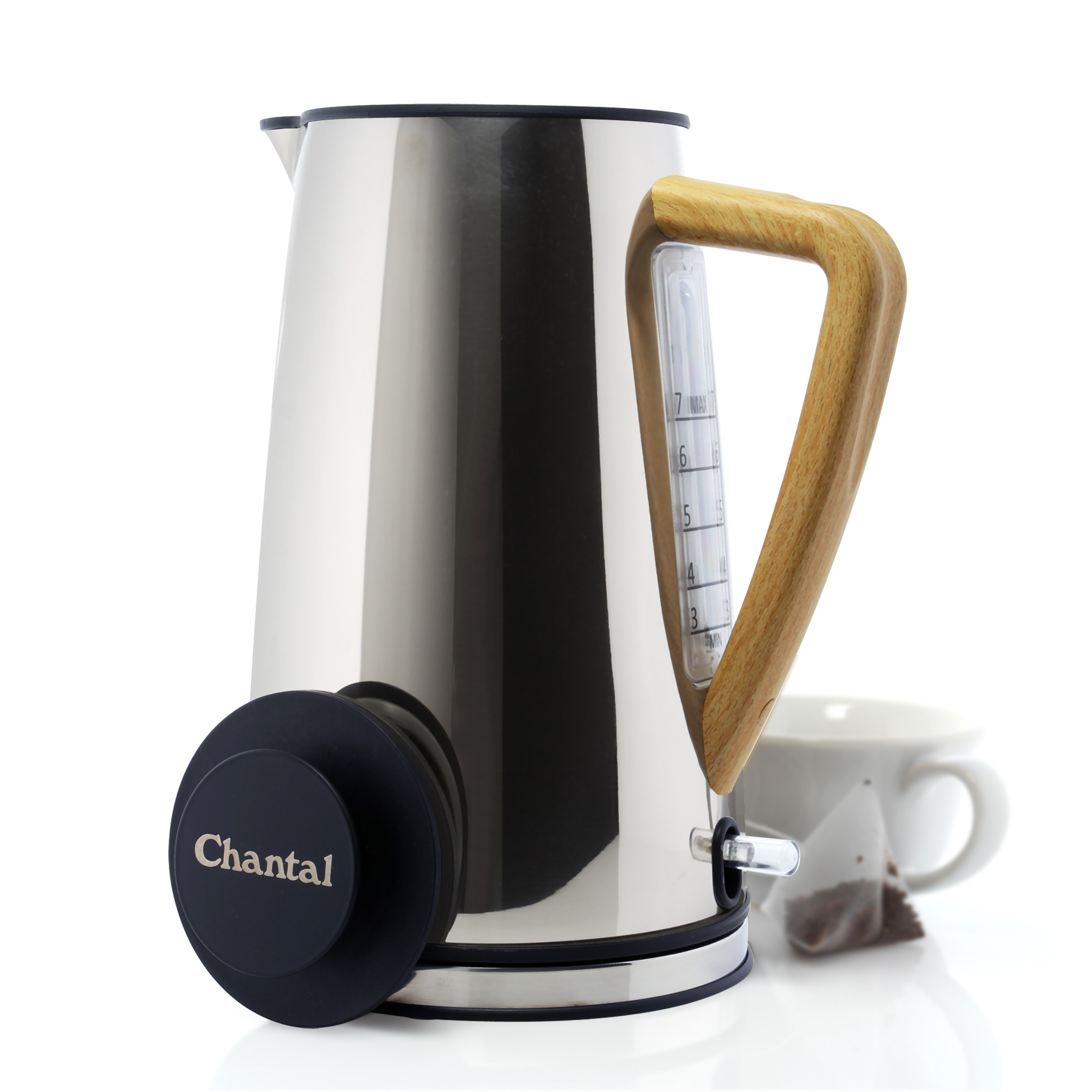 polished silver oslo electric kettle with cup of tea