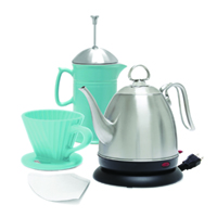 artisan coffee set mia electric kettle 32 ounce capacity stainless steel ceramic french press 28 ounce capacity ceramic lotus filter 8 ounce capacity in action