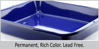 permanent rich color lead free blue high sided oven dish