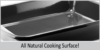all natural cooking surface on enamel on steel blue high sided oven dish