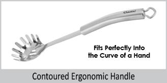 contoured ergonomic handle fits into curve of hand