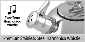 premium stainless steel two tone harmonica whistle classic stainless steel teakettle 1.8 quart capacity original iconic design the only teakettle in the market to feature a two-tone Hohner harmonica whistle