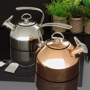 classic copper teakettle 1.8 quart capacity original iconic design the only teakettle in the market to feature a two-tone Hohner harmonica whistle in action