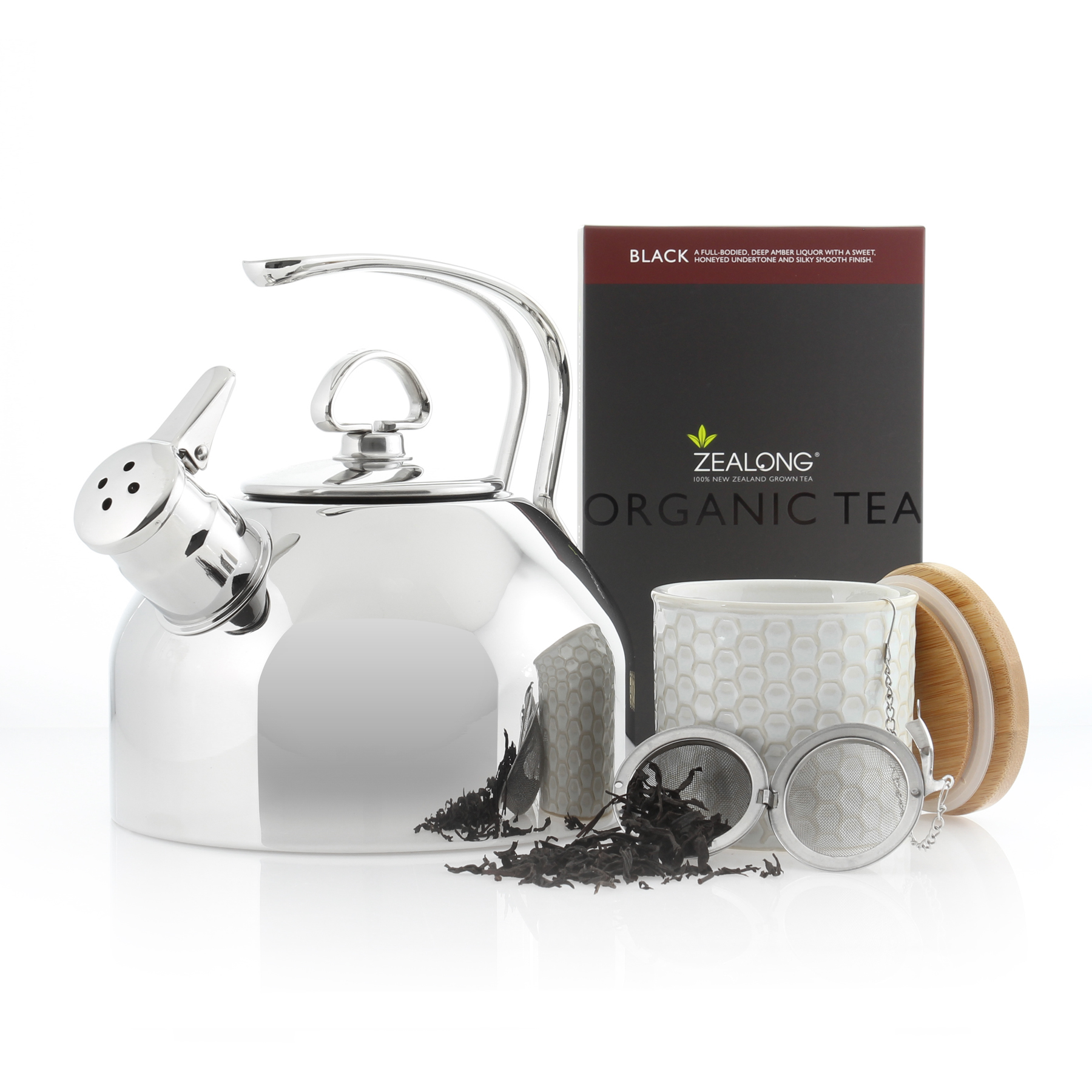classic stainless steel teakettle 1.8 quart capacity original iconic design the only teakettle in the market to feature a two-tone Hohner harmonica whistle in action kiwi bundle