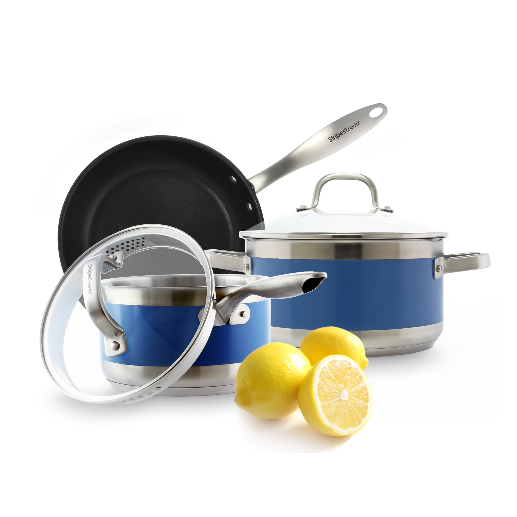stainless steel stockpot fry pan and pour spout saucepan set blue stripe