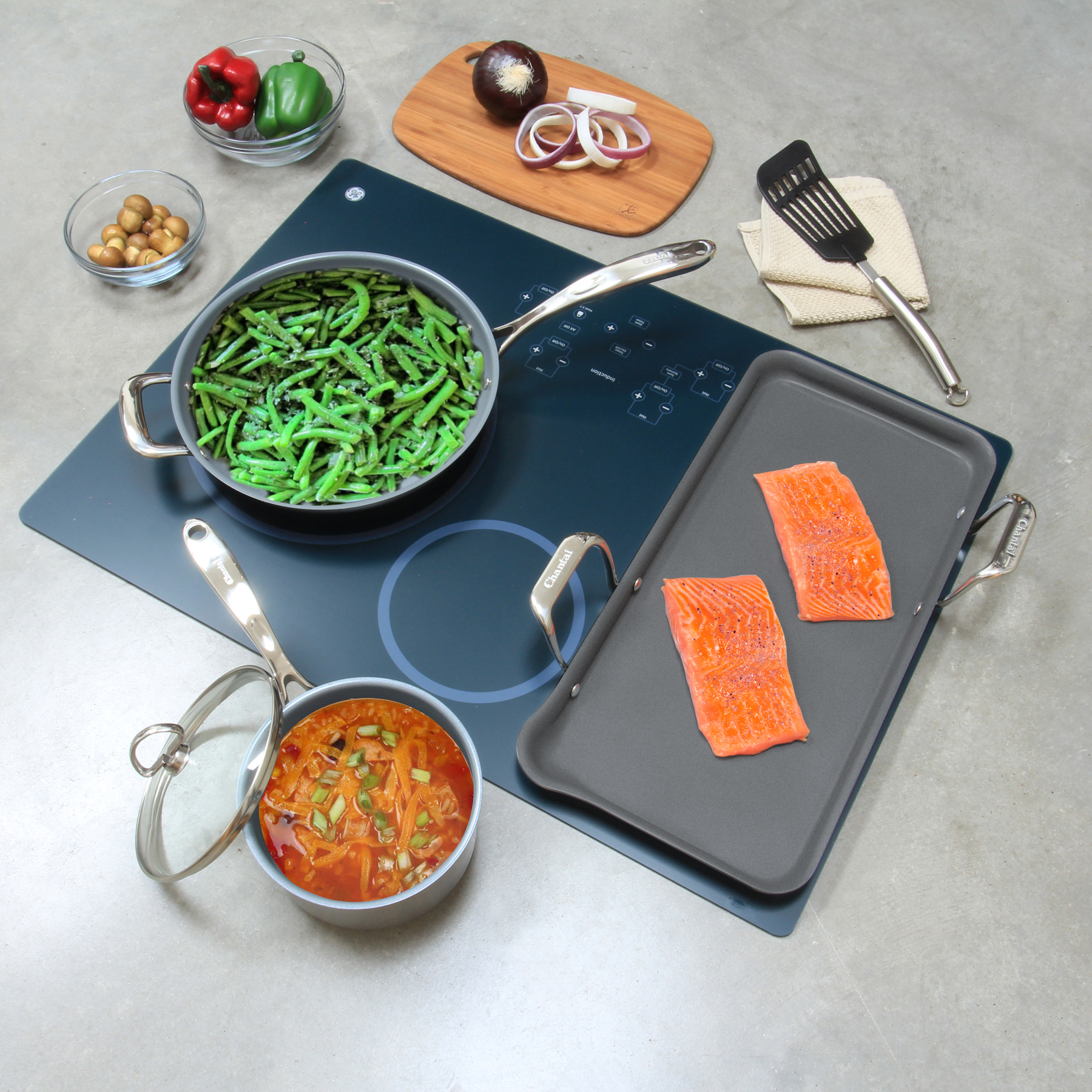 Stainless Steel nonstick griddle set chantal induction 21 steel collection no nickel with 4 pieces