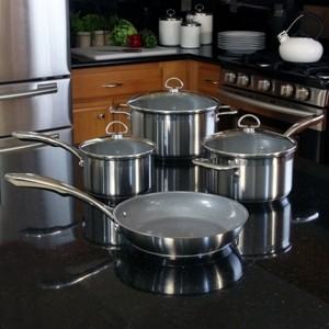 Stainless Steel 7-piece set with ceramic non-stick coating chantal induction 21 steel collection no nickel non-toxic cookware brushed exterior in action