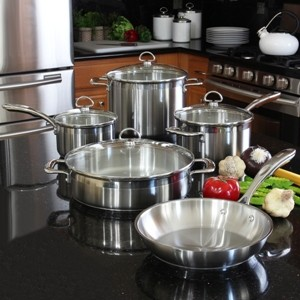 Stainless Steel 9-piece set chantal induction 21 steel collection premium no nickel non-toxic cookware brushed stainless steel exterior in action