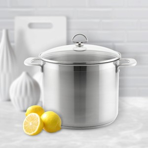 Stainless Steel stockpot chantal induction 21 steel collection premium no nickel non-toxic cookware 12 quart capacity with glass lid brushed exterior in action