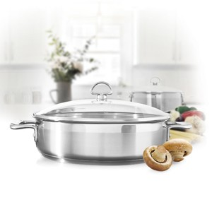 Stainless Steel sauteuse chantal induction 21 steel collection premium no nickel non-toxic cookware 5 quart capacity with glass lid brushed exterior in action