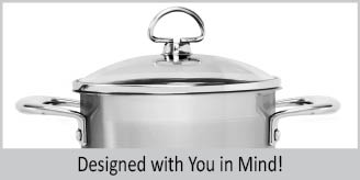 Stainless Steel soup pot chantal induction 21 steel collection premium no nickel non-toxic cookware 2 quart capacity with glass lid brushed exterior top caption reads designed with you in mind