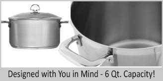Stainless Steel casserole chantal induction 21 steel collection premium no nickel non-toxic cookware 6 quart capacity with glass lid brushed exterior