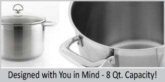 Stainless Steel stockpot chantal induction 21 steel collection premium no nickel non-toxic cookware 8 quart capacity with glass lid brushed exterior