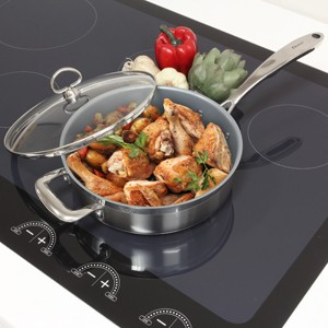 Stainless Steel saute skillet with ceramic non-stick coating chantal induction 21 steel collection no nickel non-toxic cookware 3 quart capacity coated sautewith glass lid cooking chicken