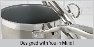 Designed with you in mind caption for Stainless Steel saucepan chantal induction 21 steel collection premium no nickel non-toxic cookware 1 quart capacity with glass lid brushed exterior