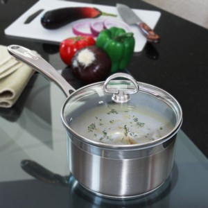 Stainless Steel saucepan chantal induction 21 steel collection premium no nickel non-toxic cookware 3 pot set with glass lid brushed exterior in action