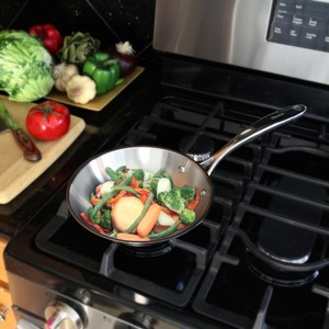 Stainless Steel frypan chantal induction 21 steel collection premium no nickel non-toxic cookware 8 inch diameter brushed exterior in action cooking vegetables