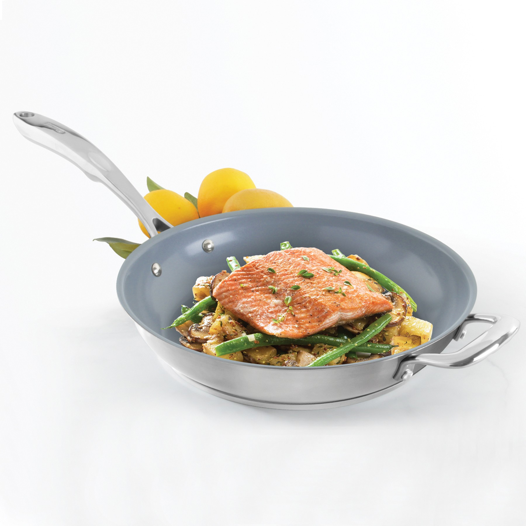 Stainless Steel frypan with ceramic non-stick coating chantal induction 21 steel collection no nickel non-toxic cookware 10 inch diameter in action
