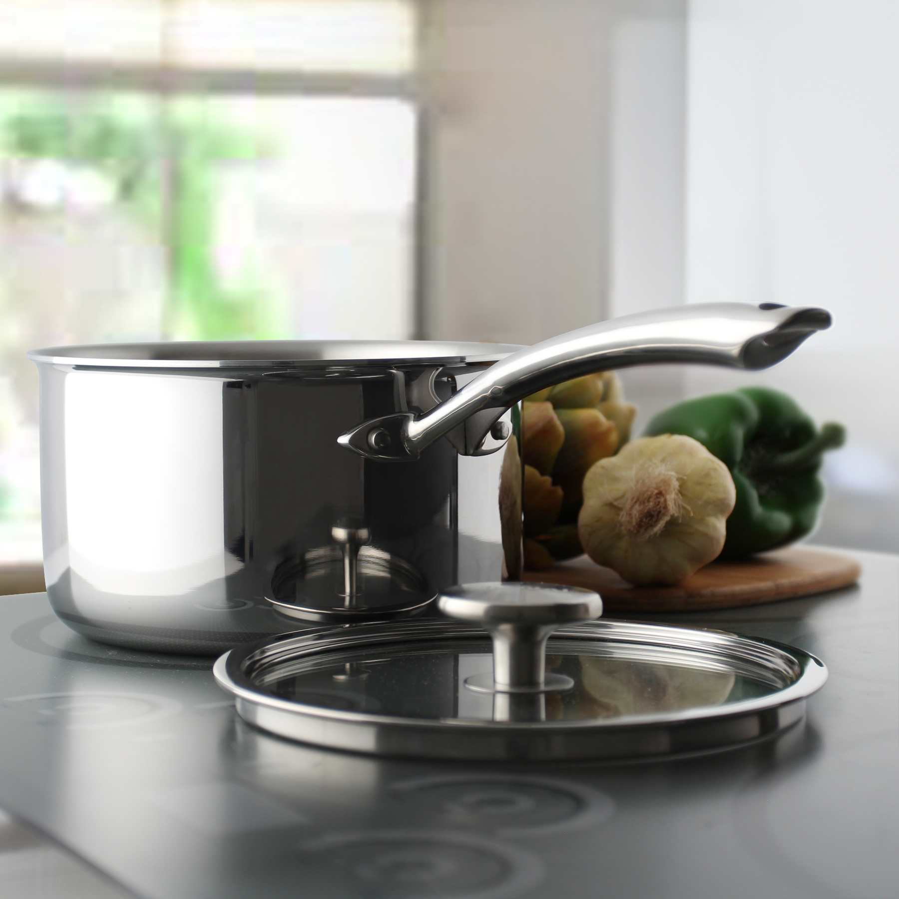 Chantal's top of the line!  This world-class cookware features bonded, multi-ply, construction that transfers heat easily and efficiently